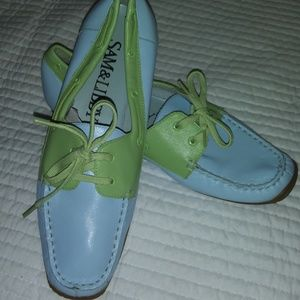 SAM & LIBBY BLUE AND GREEN LEATHER LOAFER SIZE 8